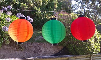 red green yellow chinese lanterns set nylon lamp for outdoor