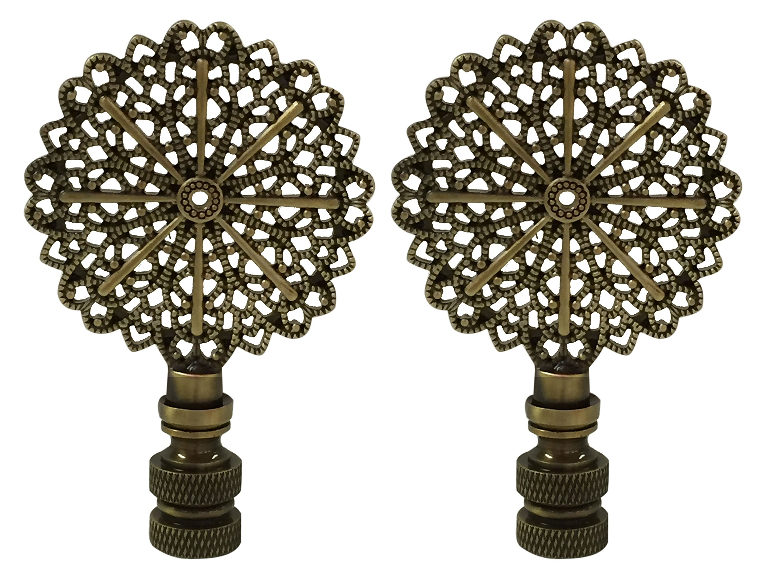 Royal Designs Traditional European Filigree Lamp Finial for Lamp Shade- Antique Brass Set of 2