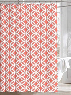 Amazon.com: Coral White Grey Fabric Shower Curtain: Ornate ...