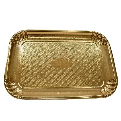 Dorado Rectangular Cartón de repostería y bandeja para tartas/platos – fiesta y boda desechables