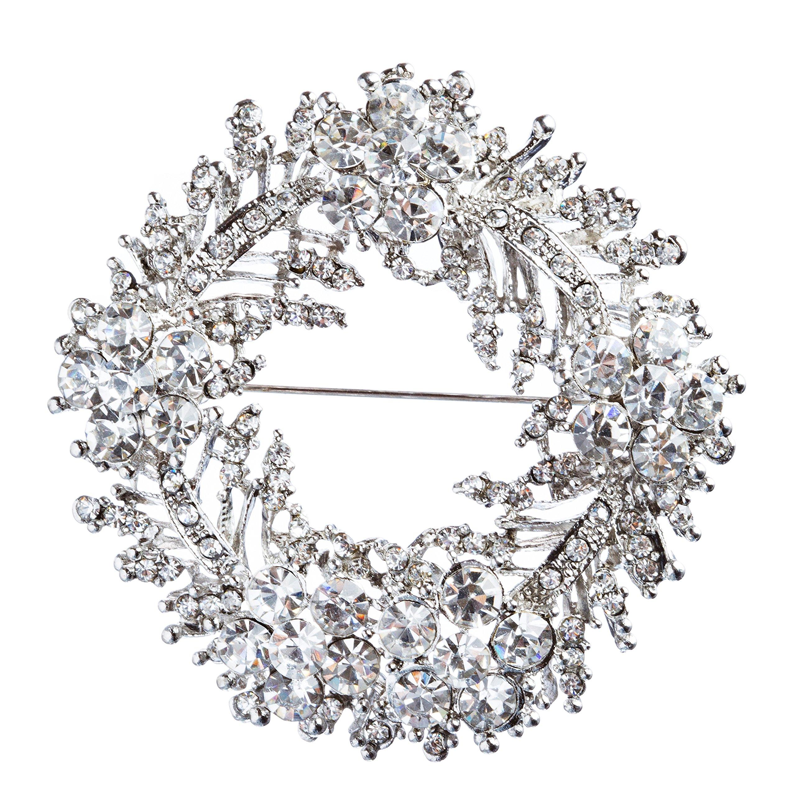 ACCESSORIESFOREVER Women Bridal Wedding Jewelry Crystal Rhinestone Flower Round Brooch Pin BH171 Silver