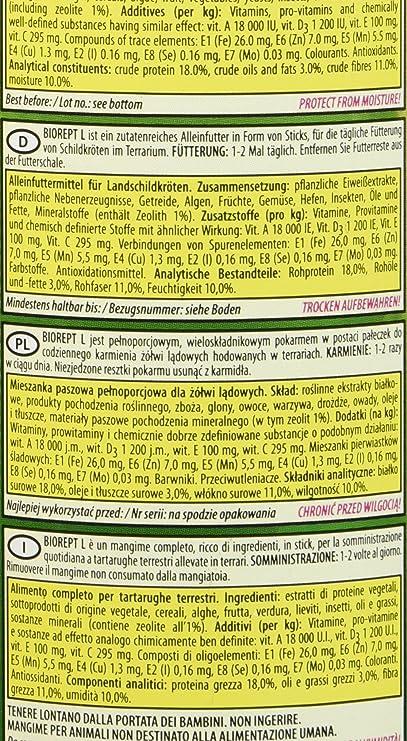 Biorept L - 500 ml/140 g - Palos, comida completa para tortugas de tierra, tortugas para la alimentación diaria - TUB original: Amazon.es: Productos para ...