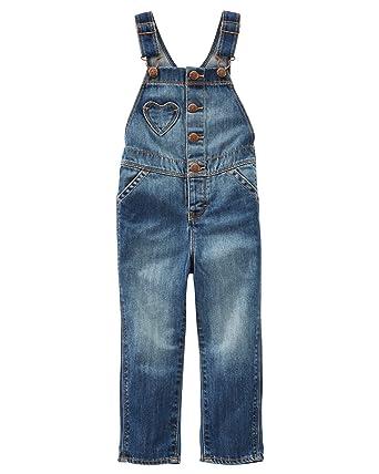 46467ceabbe Amazon.com  OshKosh B Gosh Baby Girls  Heart Pocket Denim Overalls  Clothing