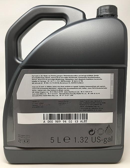 Mercedes-Benz Aceite de Motor Original 5W-30 MB 229,51 5 L: Amazon.es: Coche y moto