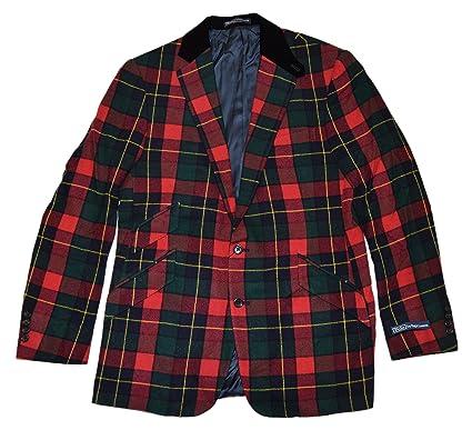 620797ac5ea Polo Ralph Lauren Mens Wool Cashmere Blazer Sport Coat Italy Plaid Red  Green 40R