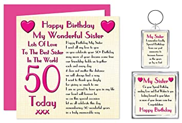 Sister 50th Happy Birthday Gift Set