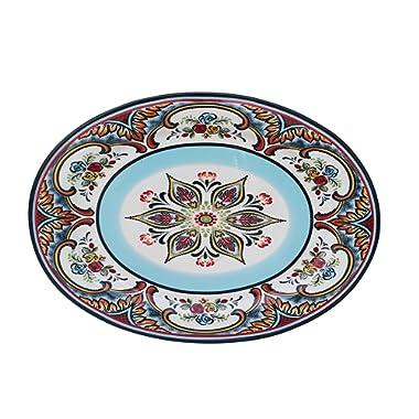 Euro Ceramica Zanzibar Oval Platter, Multicolor