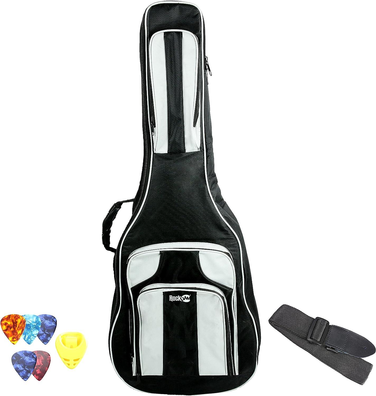RockJam DGB-04 Deluxe eléctrico Bolso de la guitarra acústica y guitarra bolsa