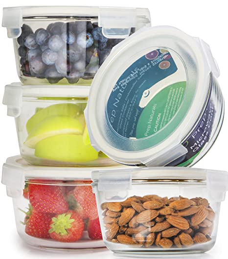 Amazoncom 5 Pack Glass Meal Prep Containers Glass Round Glass