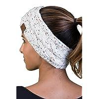 Cable Knit Fuzzy Lined Head Wrap Headband Ear Warmer