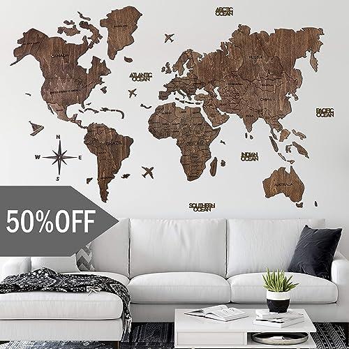 World Map Wood Wall Decor Home Decor Push Pins Wooden Map XL Size
