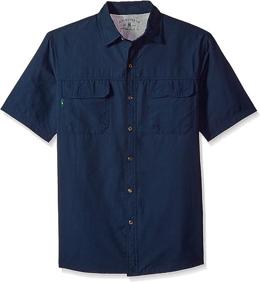 GH Bass & Co. Hombres Explorador de Punto Cuello Manga Corta Camisa de Pesca