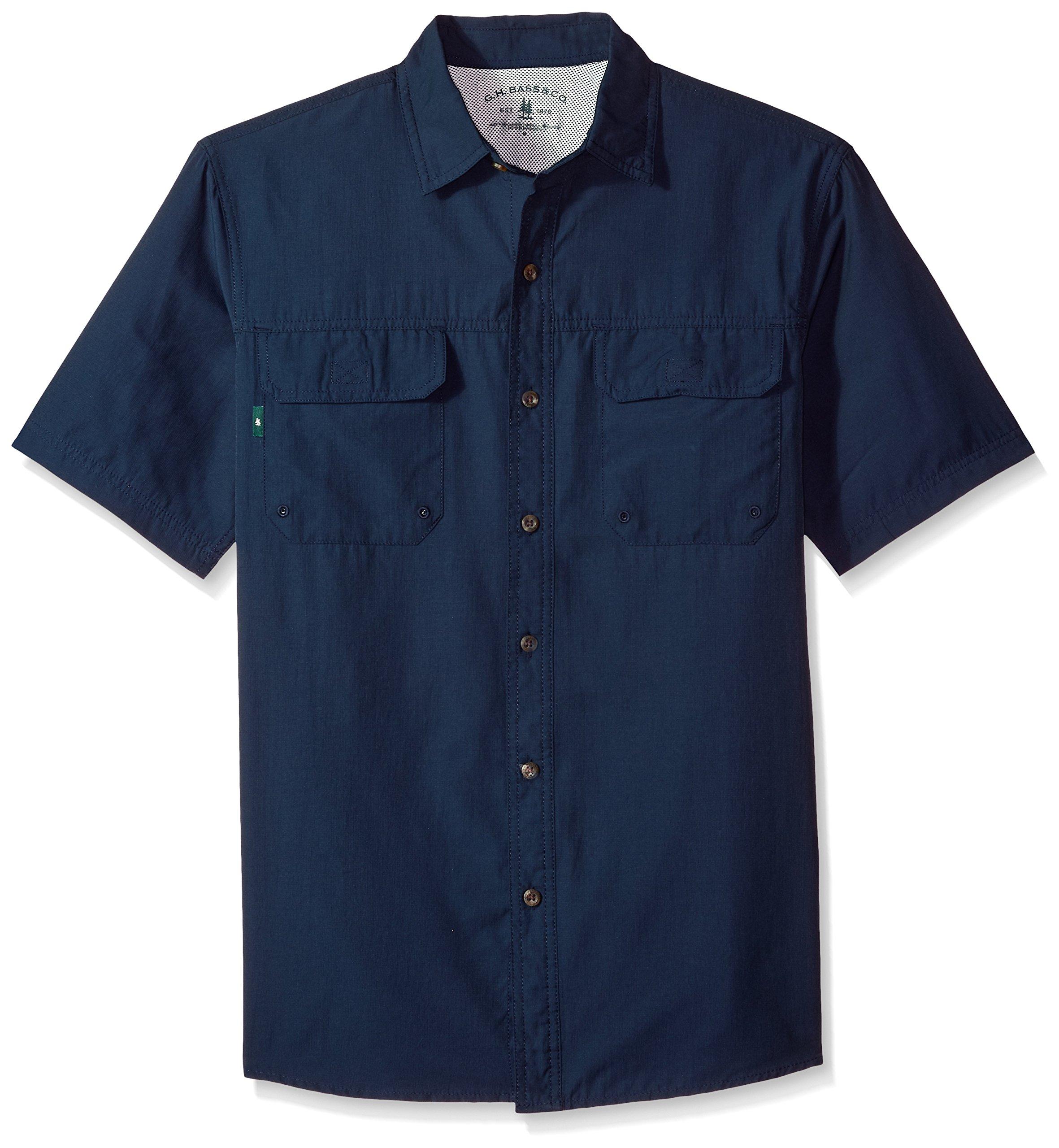 G.H. Bass & Co. Men's Explorer Point Collar Short Sleeve Fishing Shirt, Rich Navy Blazer, Medium