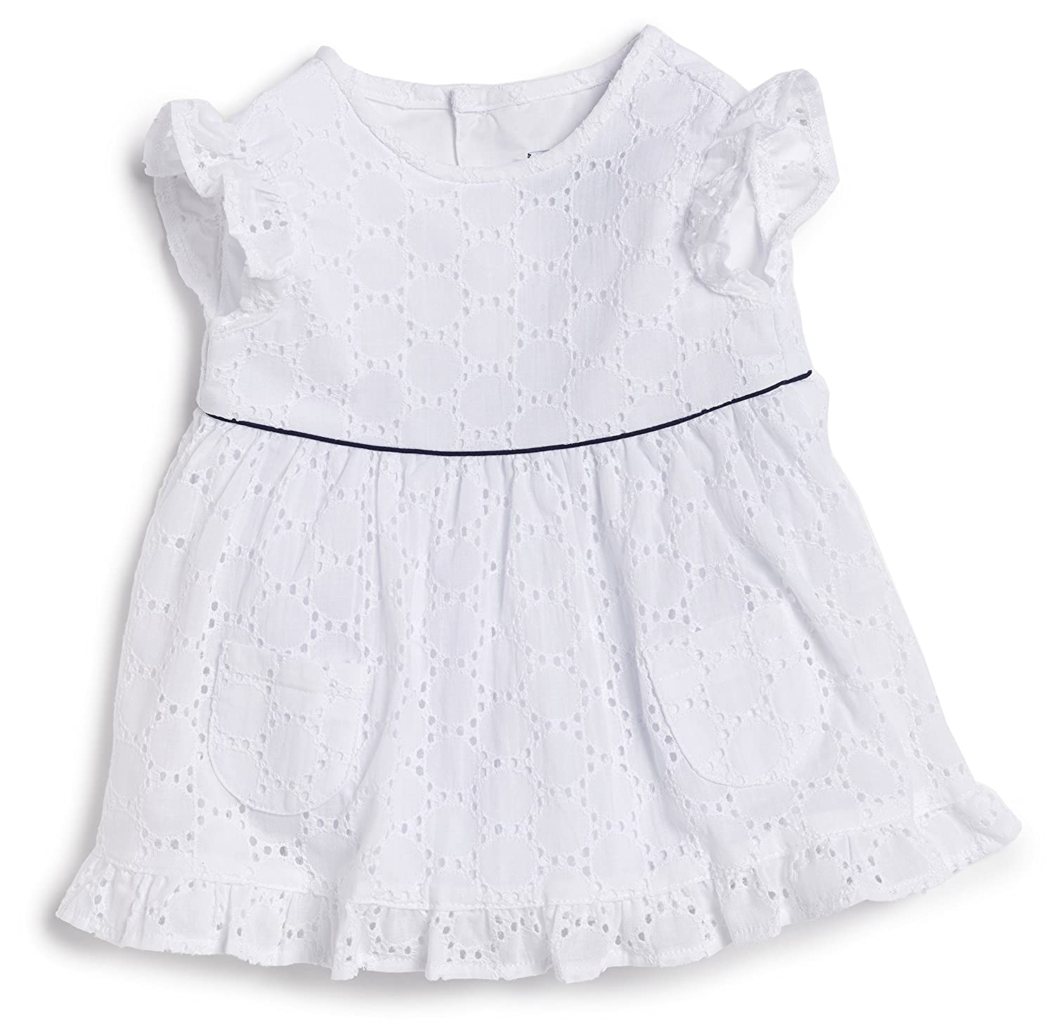 Busy Bees White Embroidered Dress