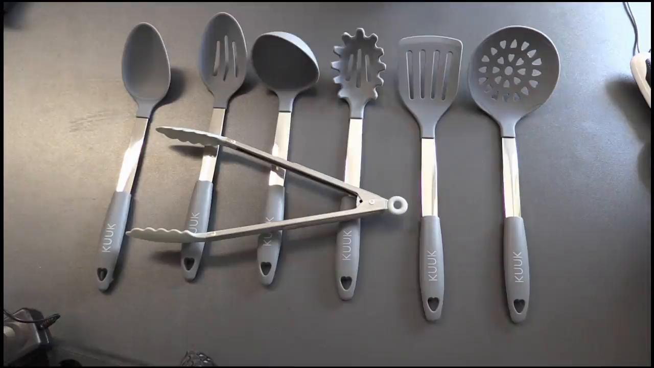 KUUK Küchenhelfer Küchen Utensilien Set – Edelstahl und Silikon ...