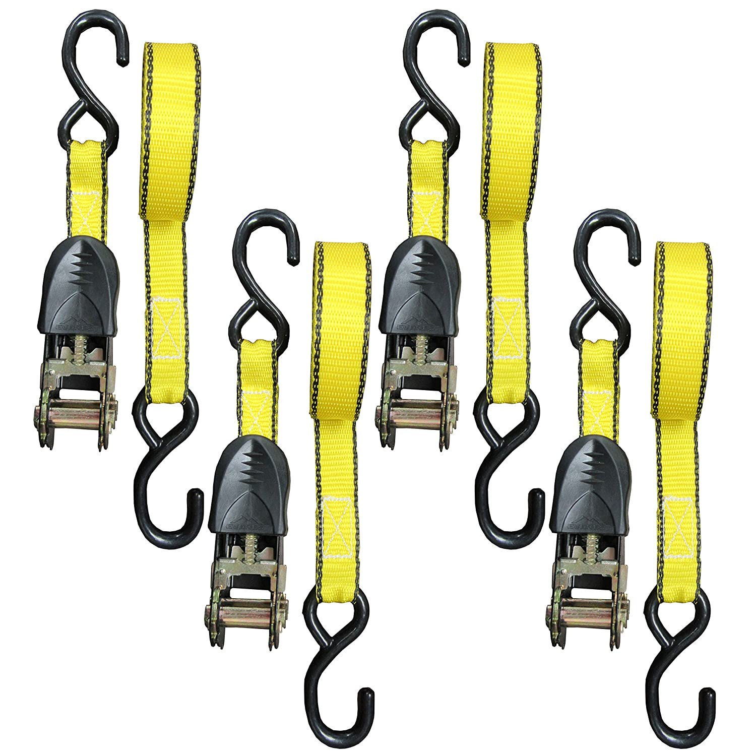 15 Feet 1 Inch Cargo Straps Perfect for Moving Appliances Motorcycle Lawn Equipment 1500 LB Break Strength 4 Pack 500 LBS Working Load Ratchet Tie Down Strap ATV by Everest Cam buckle Alternative