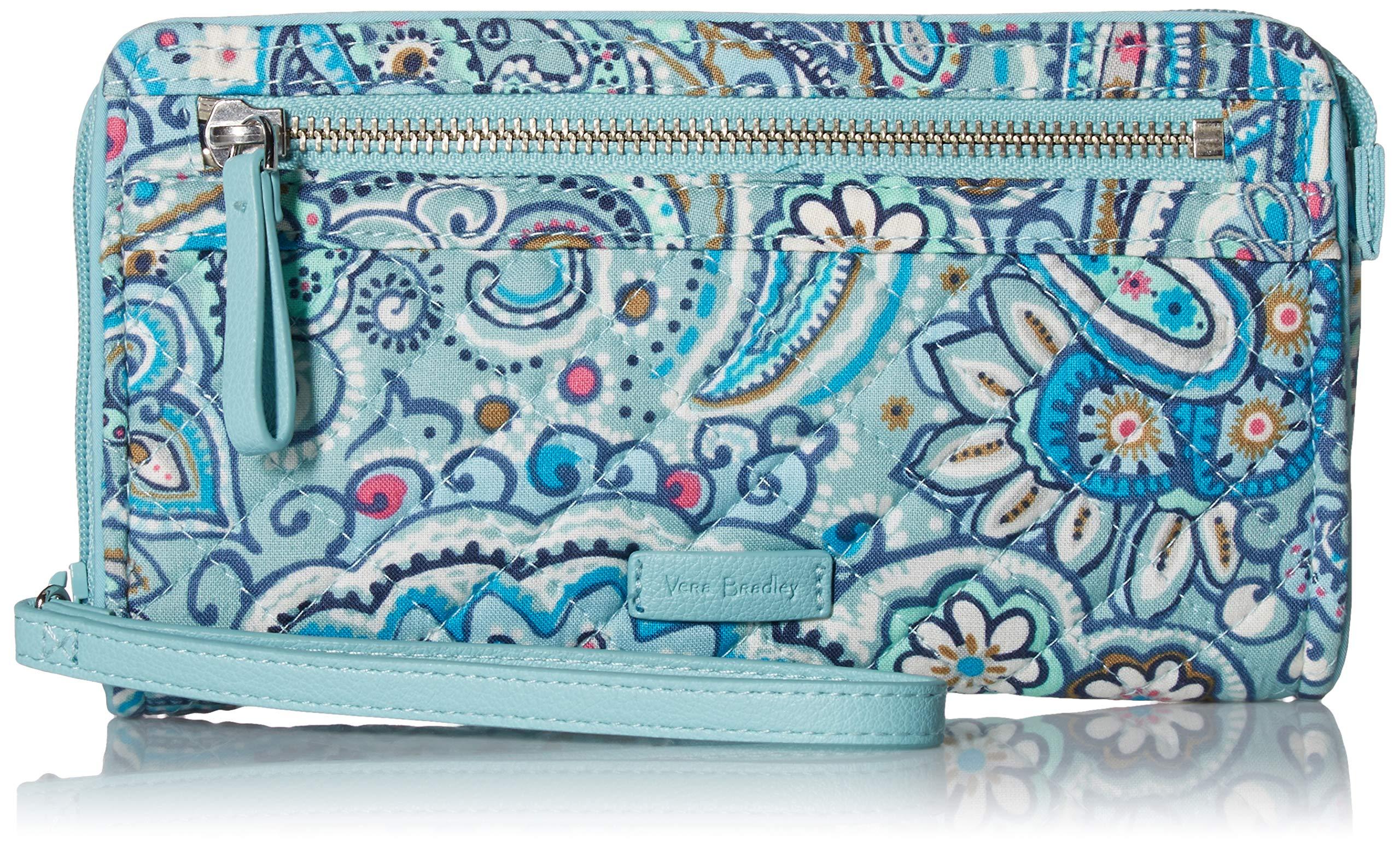 Vera Bradley womens Iconic RFID Front Zip Wristlet, Signature Cotton, Daisy Dot Paisley, One Size