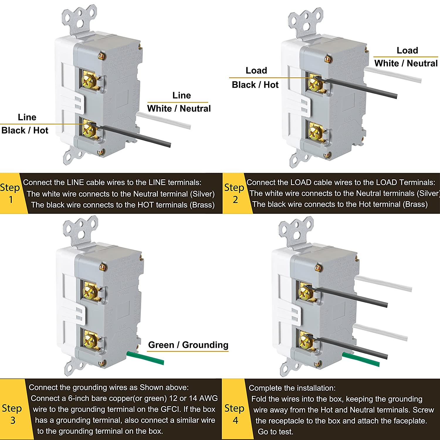10 Pack Bestten Self Test Tamper Resistant Gfci Receptacle Outlet Wiring Diagram For With Led Power Indicator