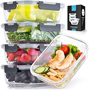 Zulay (5-Pack, 36 Oz) Food Storage Container With Lids - Airtight Snap Lock Glass Container - BPA Free Meal Prep Container Glass Storage Set - Microwave & Dishwasher Friendly Glass Food Container