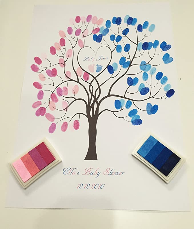 Baby Shower Personalised Elephant Fingerprint Tree Guestbook A4//A3 Ink Pad Gift