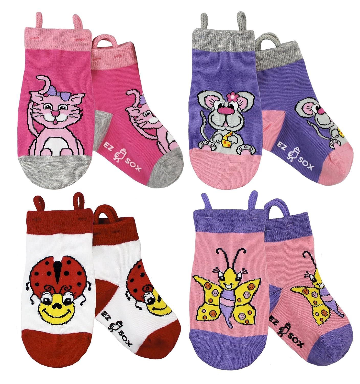Calzini per bambini con volti di animale, punte senza cuciture, grip antiscivolo, calzini facili da tirare Ez Sox Pack-Anim-UK