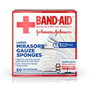 Band Aid Brand First Aid Products Mirasorb Gauze Sponges for Cleaning Wounds, 4 in x 4 in, 50 ct
