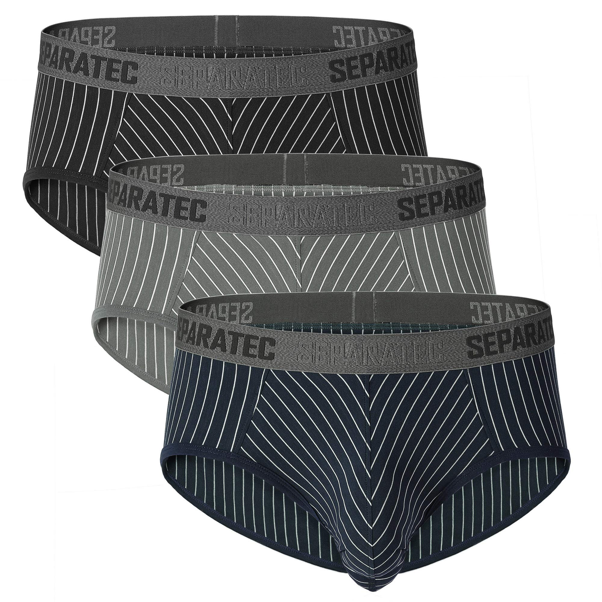 Separatec Men's Underwear Stylish Striped Comfort Soft Cotton Trunks 3 Pack (Black/Gray/Navy Blue, M) by Separatec
