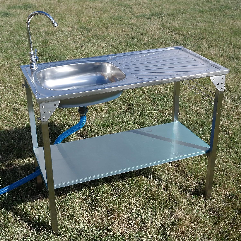Fregadero con escurridor plegable, de acero inoxidable, perfecto para camping y otros usos al aire libre