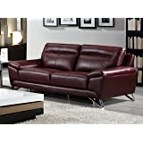 Cortesi Home Phoenix Genuine Leather Sofa, Merlot