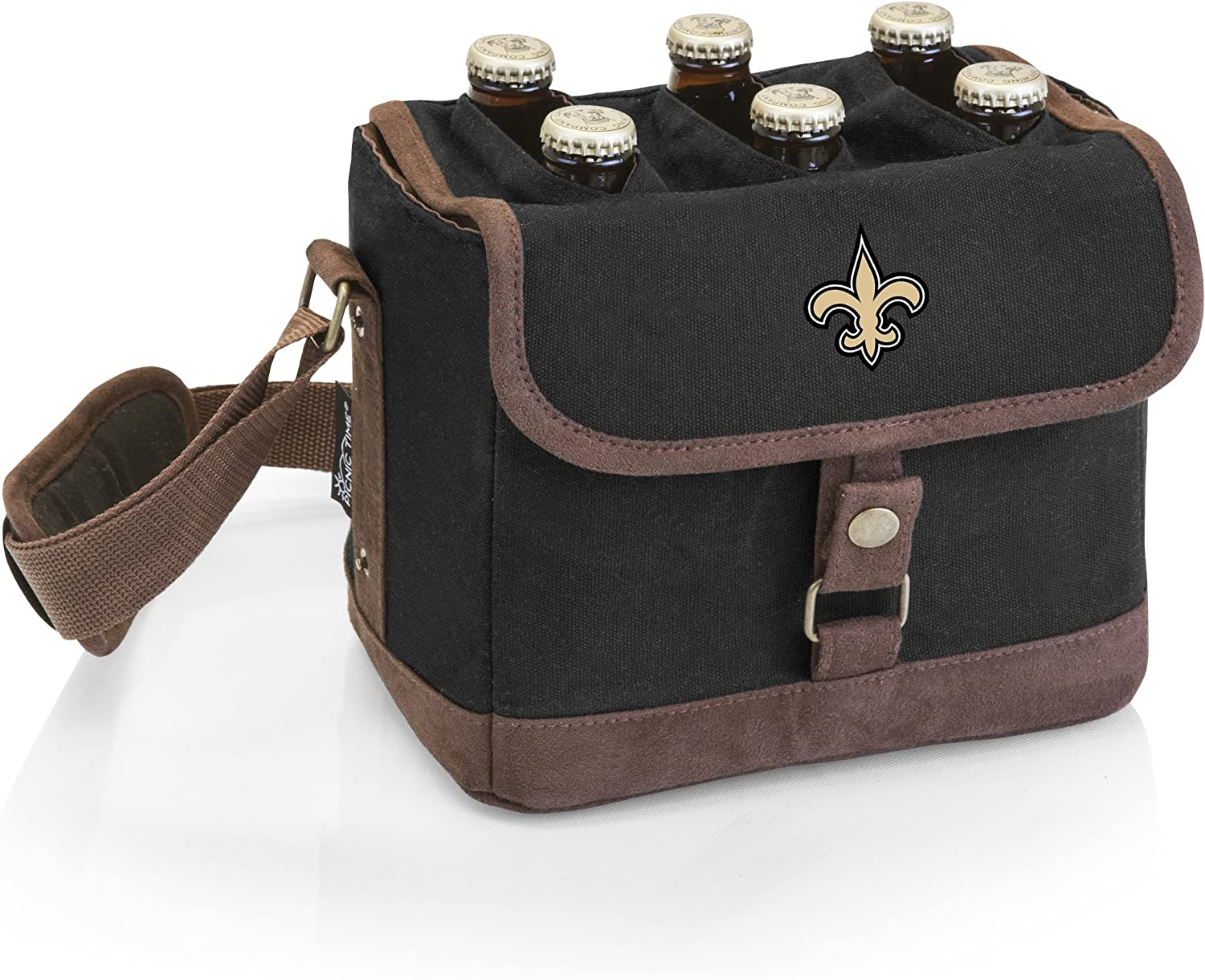 PICNIC TIME NFL New Orleans Saints 6-Bottle Insulated Beer Caddy with Integrated Bottle Opener