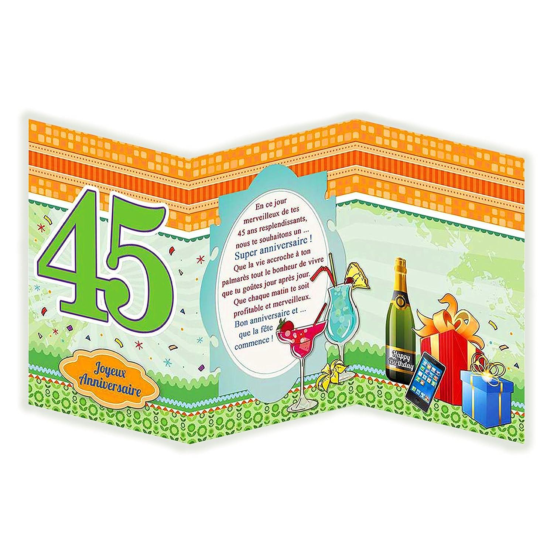 Afie 882133 Carte 3 Volets Joyeux Anniversaire 45 Ans Cartes Postales Cartes Et Papier Cartonne