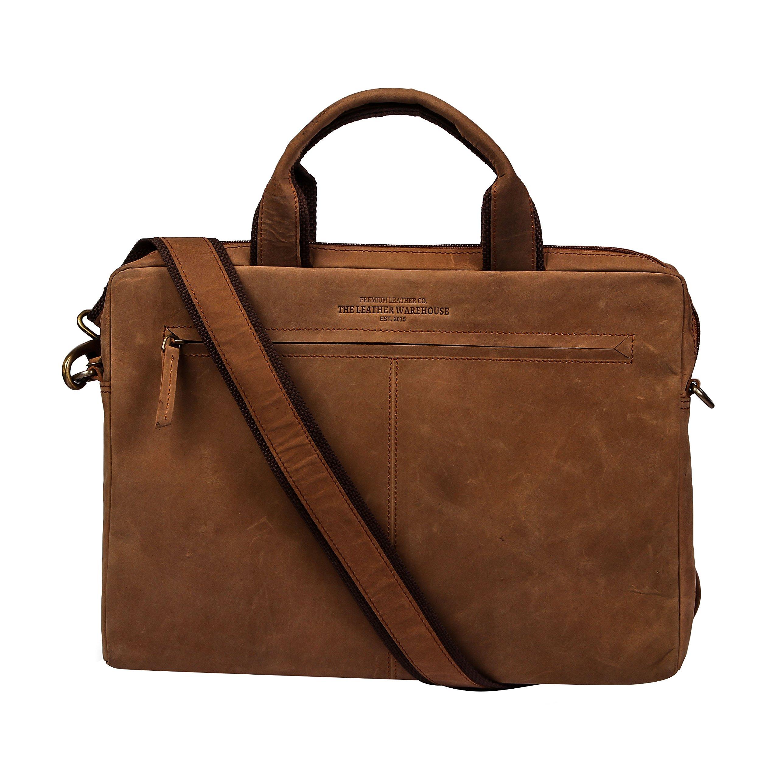 13 - 13.3 inch vintage Leather Sleek Handmade Sleeve   Shoulder bag   Messenger Bag   Office Briefcase compatible with MacBook Ultrabook Chromebook Notebook - Dark Brown by The Leather Warehouse
