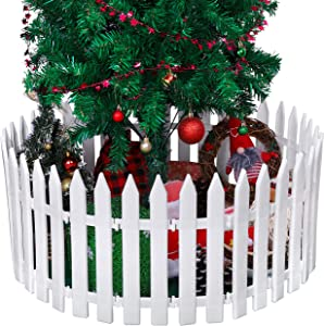 URATOT 25 Pieces Thick White Plastic Picket Fence Christmas Tree Fences Mini Fence Decoration for Christmas Wedding Party Garden Home, 12 Inches
