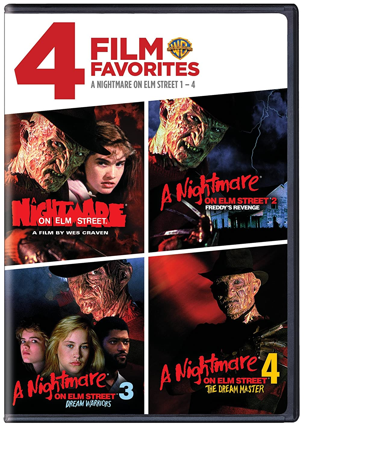 4 Film Favorites: Nightmare on Elm Street 1-4 (A Nightmare on Elm Street, Nightmare on Elm Street 2: Freddie's Revenge, Nightmare on Elm Street 3: Dream Warriors, Nightmare on Elm Street 4: The Dream Master)