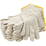 """12 Pack Beige String Knit Gloves 10"""" Large Size. Washable Glove with Elastic Knit Wrist. Cotton Polyester Gloves. Plain…"""