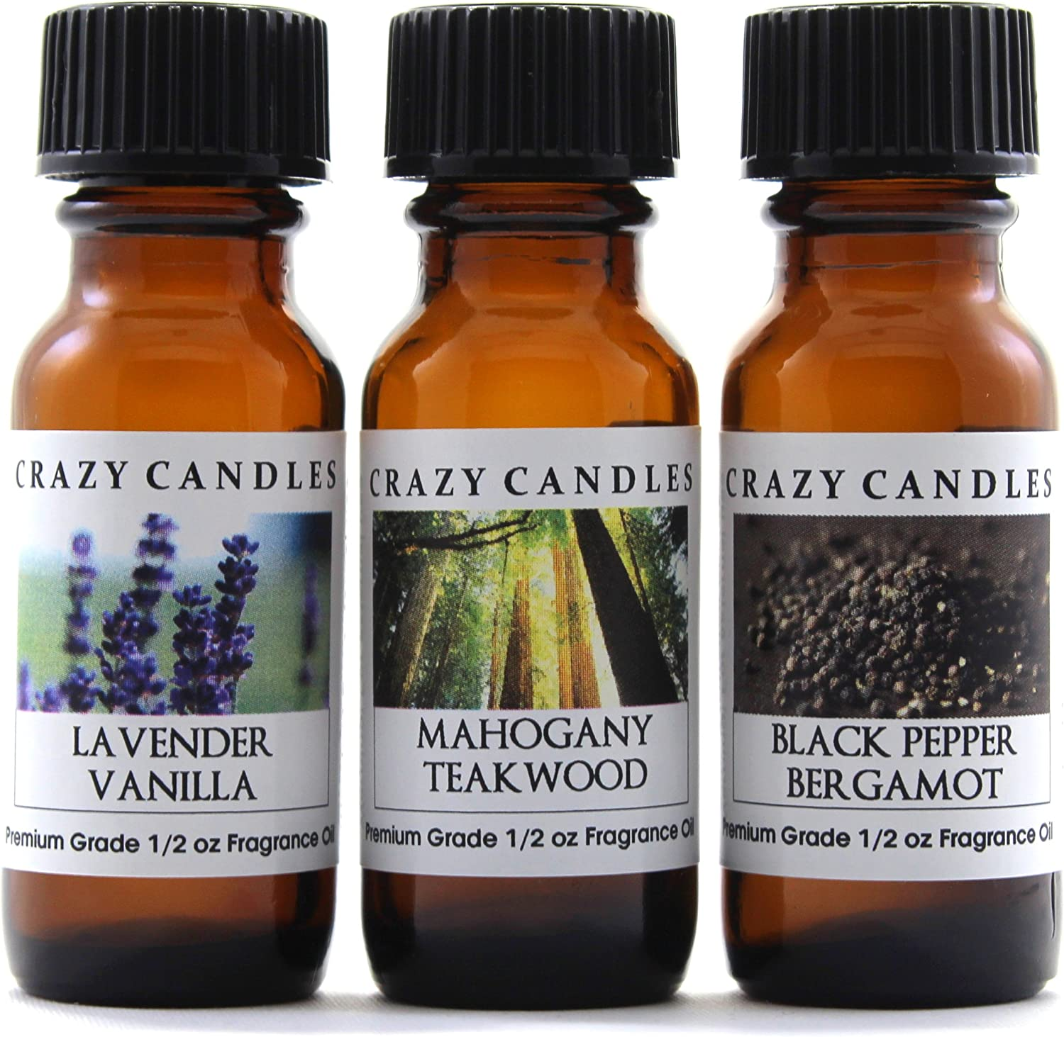 Crazy Candles 3 Bottles Set, 1 Lavender Vanilla, 1 Mahogany Teakwood, 1 Black Pepper Bergamot 1/2 Fl Oz Each (15ml) Premium Grade Scented Fragrance Oils