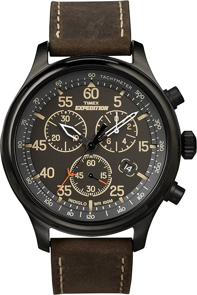 325ce4491 Timex Men's T49905 Expedition Rugged Field Chronograph Black/Brown Leather  Strap Watch