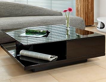 Couch Tisch Schwarz Hochglanz Mit Schublade 100x100cm Quadratisch | Carla |  Moderner Wohnzimmer Tisch