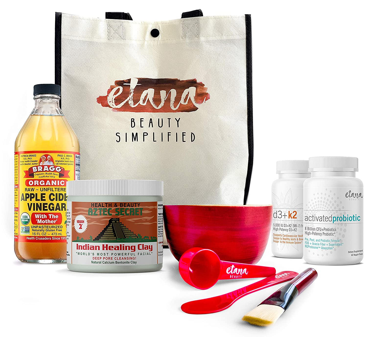 Etana Beauty Bundle - Aztec Clay Premium Mask Set – 1lb Aztec Secret Indian Healing Clay, 16oz Bragg's Apple Cider Vinegar, Mixing Utensils & Reusable Tote PLUS Activated Probiotic & D3+K2 Supplements