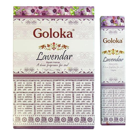 Varillas de incienso Goloka Lavender Masala Incense lavanda 180g aroma fragancia ambientador: Amazon.es: Hogar