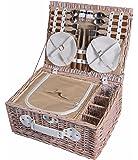 Cestino da picnic in vimini 4 persone da tavola Cestino da picnic Cestino di vimini Cestino di vimini Set da picnic (bianco)