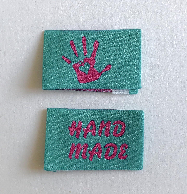 beige//blau Generic 10 Handmade with Love Label w/ählbar Webetiketten Einn/ähetiketten Textiletiketten Kleideretiketten