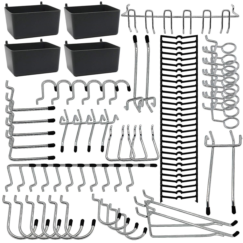 Pegboard Hooks Assortments 85PCS with Metal Hooks,Pegboard Bins,Peg Locks for Tool Organization