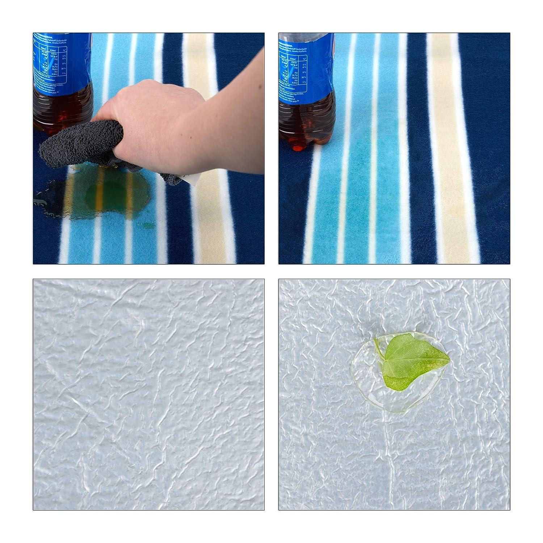 wasserdicht Fleece Stranddecke blau-wei/ß 200 x 200 cm Relaxdays Picknickdecke XXL w/ärmeisoliert mit Tragegriff