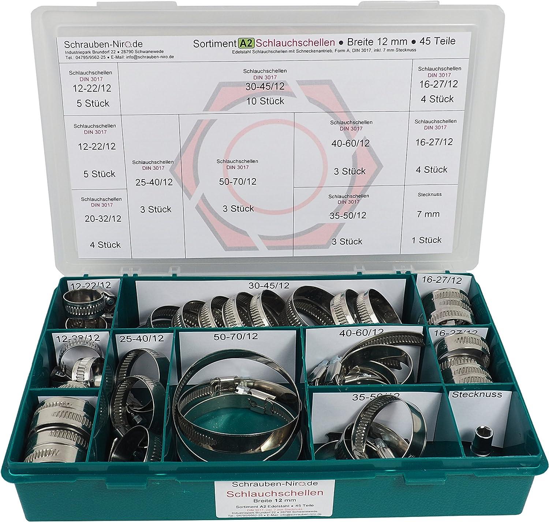 ancho de banda de 12 mm material W4 incluye llave de 7 mm Surtido de abrazaderas de acero inoxidable A2 juego de 45 piezas equivalente a V2A rango de sujeci/ón de 12 a 70 mm