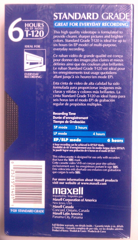 Maxell Standard VHS Videocassette MAX214016