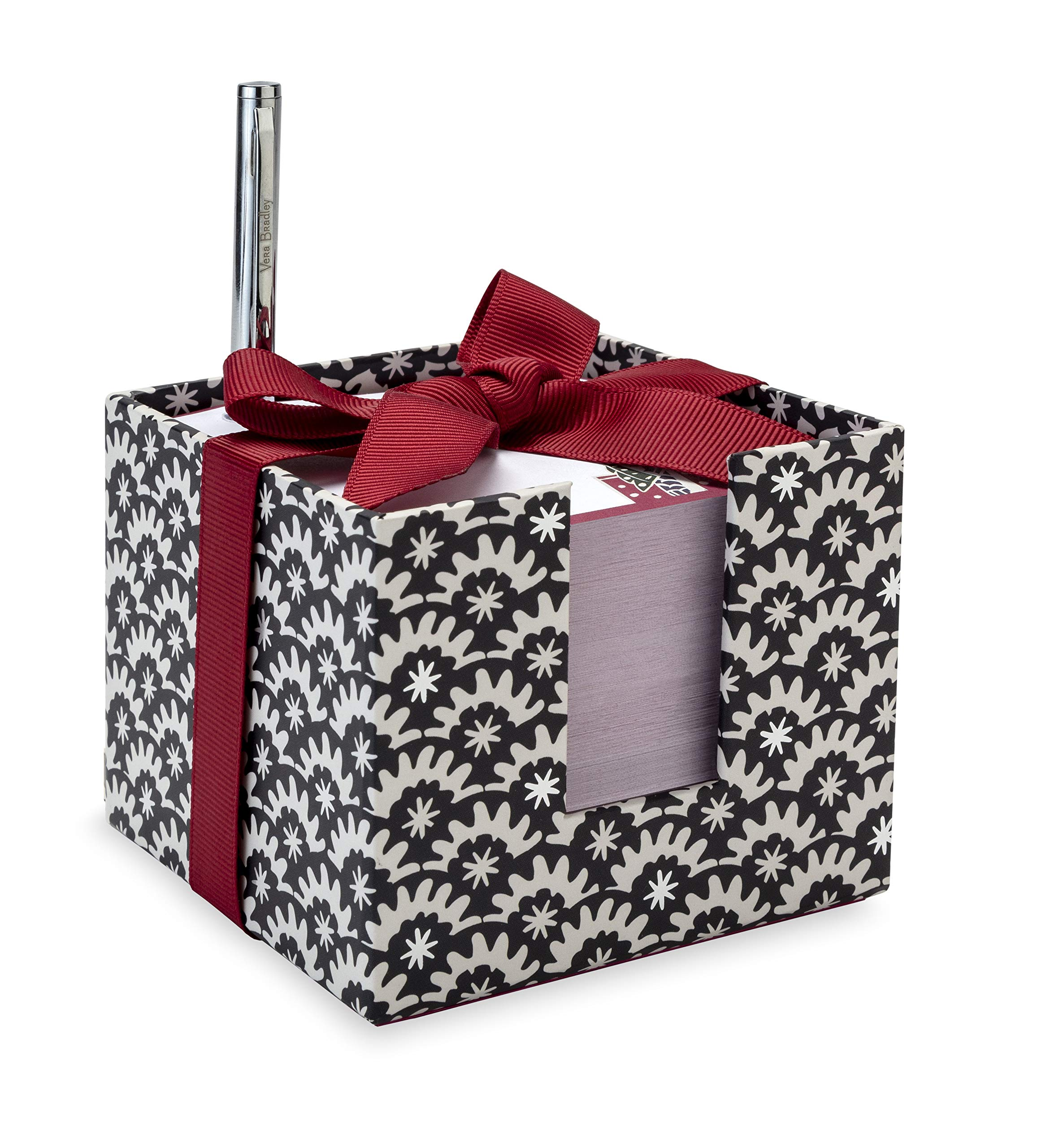 Vera Bradley Holiday Notecube with Black Ink Pen, 3.75'' x 3.75'' with 400 Sheets (Night Stars)