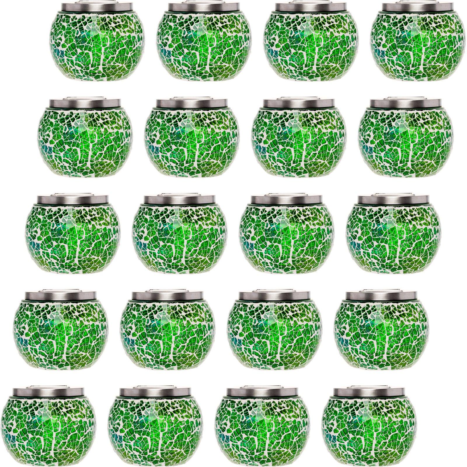 20 Pack Mosaic Solar Light - Decorative LED Outdoor Garden Table Ball Light by GreenLighting (Green)