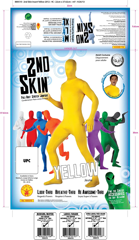 Rubies Mens Second Skin Zentai Supersuit Yellow Large