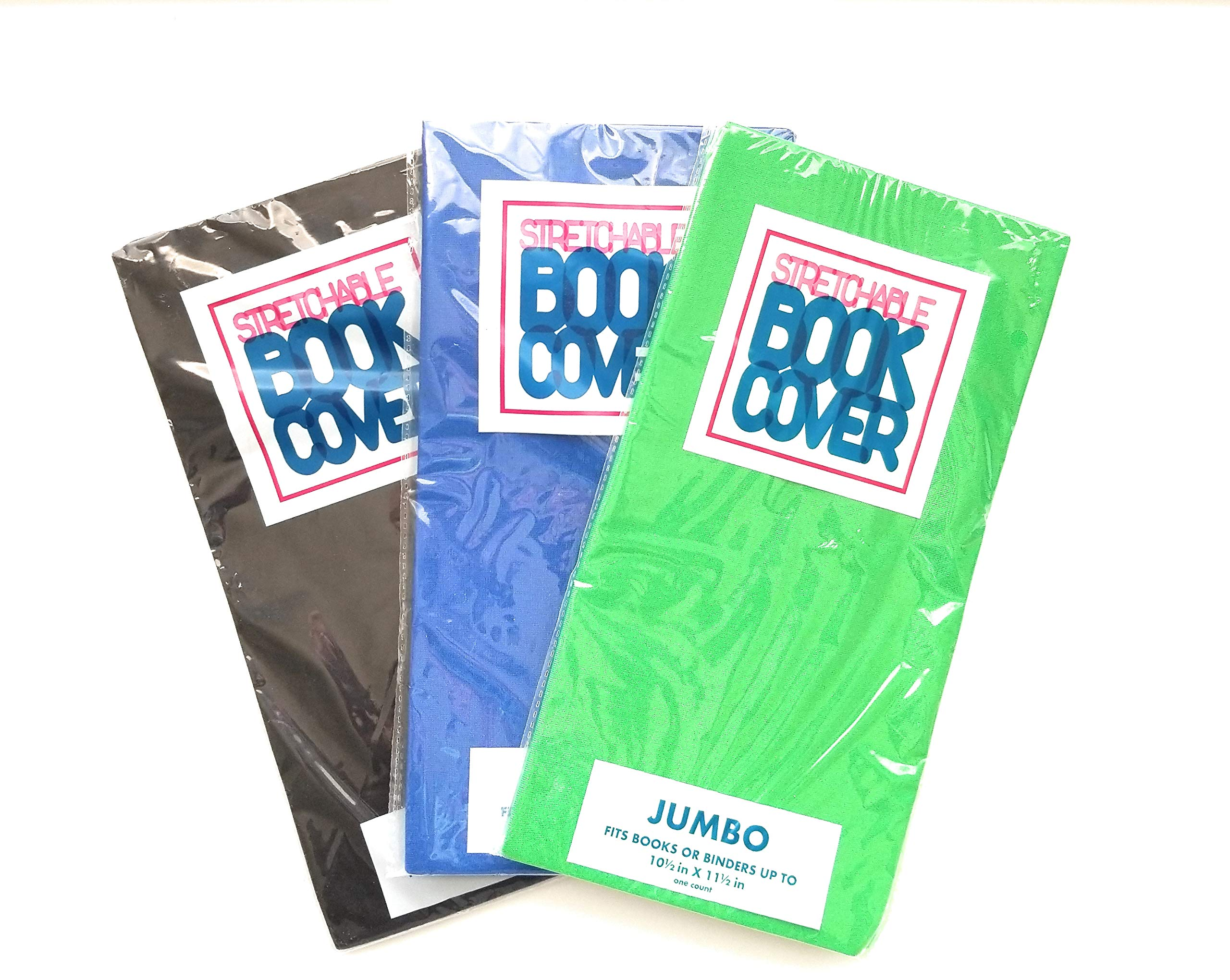Jumbo Stretchable Book Covers 3 Piece Bundle Blue, Green & Black